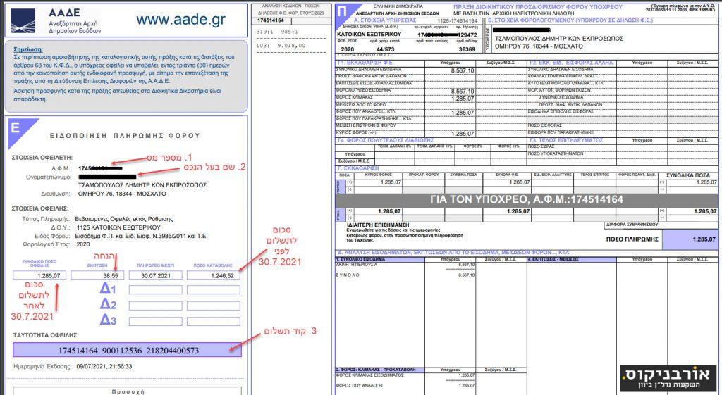 תשלום מיסים ביוון לשנת 2020