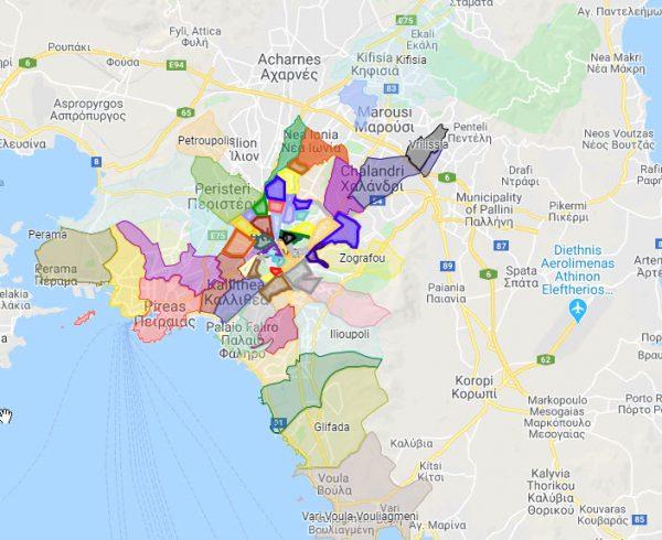 מפת אתונה לפי שכונות
